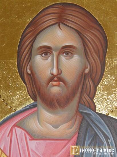 Ιησούς Χριστός με στιλβωτό και τσουκάνικο, διαστάσεων 20Χ15 cm, σε ίσιο ξύλο κόντρα πλακέ θαλάσσης 2 cm.